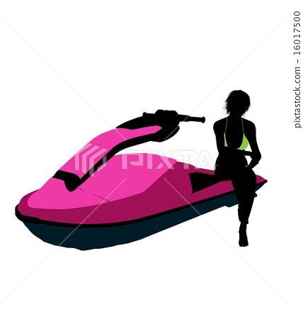 Female Jetskier Art Illustration Silhouette 16017500
