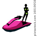 jetskier, silhouette, female 16019058