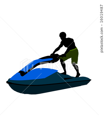 African American Male Jetskier Art Illustration Silhouette 16019487