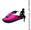 jetskier, silhouette, illustration 16019690