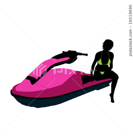 Female Jetskier Art Illustration Silhouette 16019690