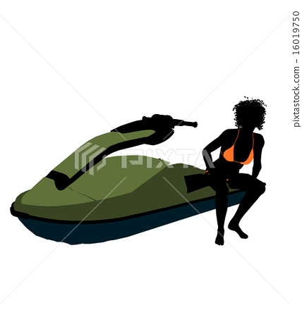 African American Female Jetskier Art Illustration Silhouette 16019750