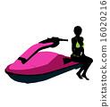 jetskier, silhouette, illustration 16020216