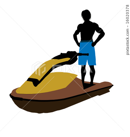 Male Jetskier Art Illustration Silhouette 16020378