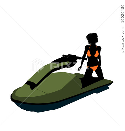 African American Female Jetskier Art Illustration Silhouette 16020480