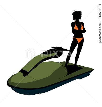 African American Female Jetskier Art Illustration Silhouette 16020651
