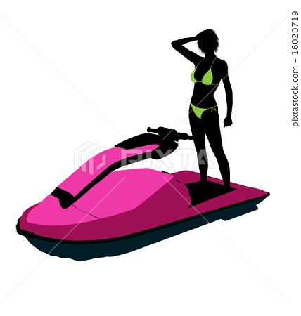 Female Jetskier Art Illustration Silhouette 16020719