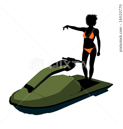 African American Female Jetskier Art Illustration Silhouette 16020770