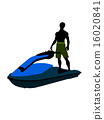 African American Male Jetskier Art Illustration Silhouette 16020841