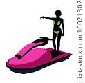 jetskier, silhouette, female 16021302