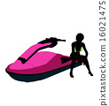 jetskier, silhouette, illustration 16021475