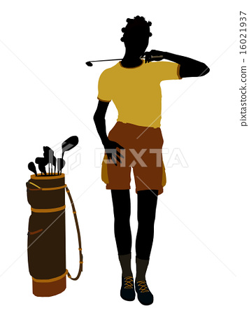 African American Female Golf Player Illustration Silhouette 16021937