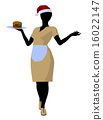 African American Waitress Illustration Silhouette 16022147