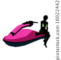 jetskier, silhouette, female 16022442