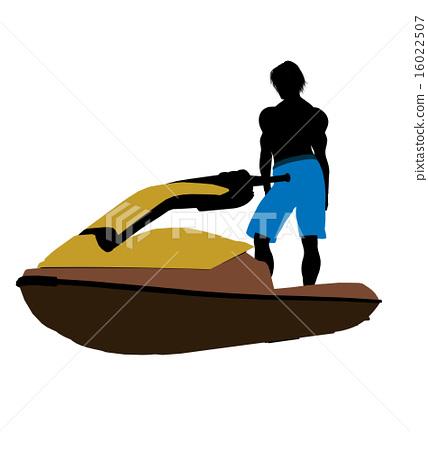 Male Jetskier Art Illustration Silhouette 16022507