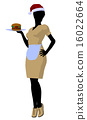 African American Waitress Illustration Silhouette 16022664