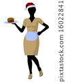 African American Waitress Illustration Silhouette 16022841