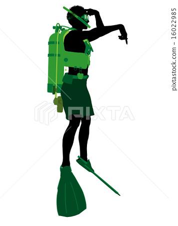 African American Male Scuba Diver Illustration Silhouette 16022985