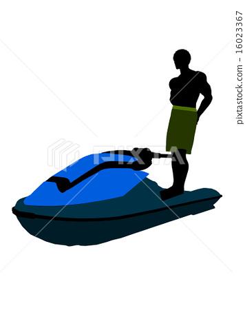 African American Male Jetskier Art Illustration Silhouette 16023367