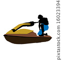 jetskier, silhouette, male 16023394