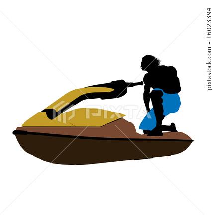 Male Jetskier Art Illustration Silhouette 16023394