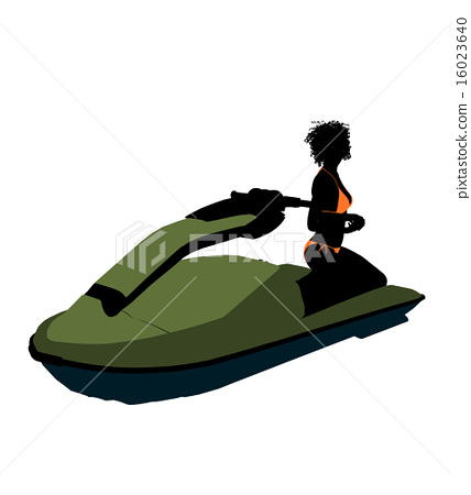 African American Female Jetskier Art Illustration Silhouette 16023640