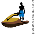 jetskier, silhouette, illustration 16023699