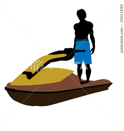 Male Jetskier Art Illustration Silhouette 16023699