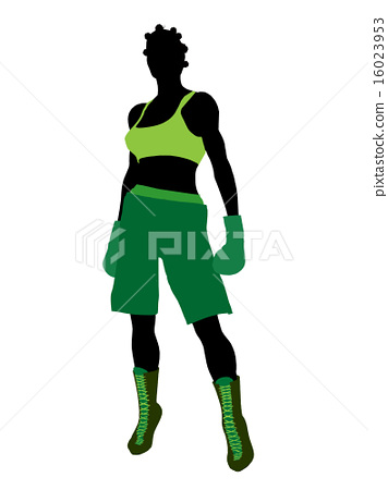 African American Female Boxer Illustration Silhouette 16023953