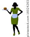 Waitress Illustration Silhouette 16024263
