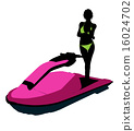 jetskier, silhouette, illustration 16024702