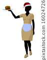 African American Waitress Illustration Silhouette 16024726