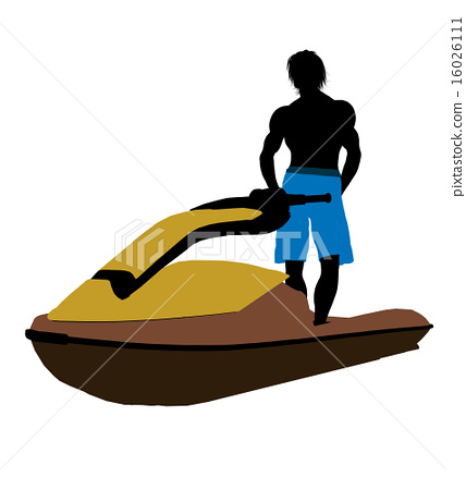 Male Jetskier Art Illustration Silhouette 16026111