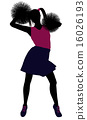 Cheerleader silhouette on a white background 16026193