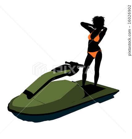 African American Female Jetskier Art Illustration Silhouette 16026902