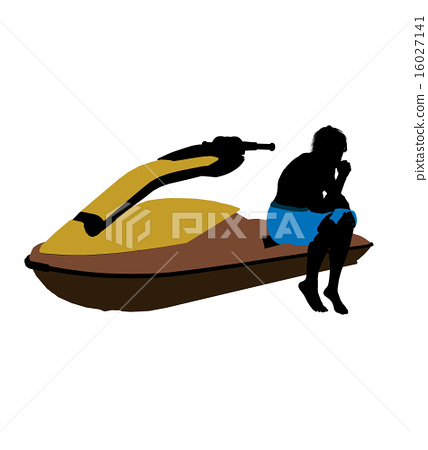 Male Jetskier Art Illustration Silhouette 16027141