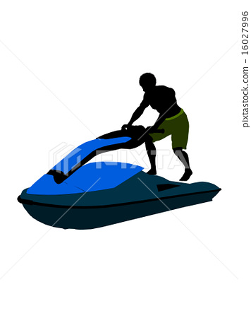 African American Male Jetskier Art Illustration Silhouette 16027996