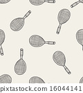 Doodle Tennis racket seamless pattern background 16044141