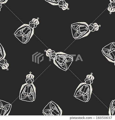 queen doodle seamless pattern background 16050637