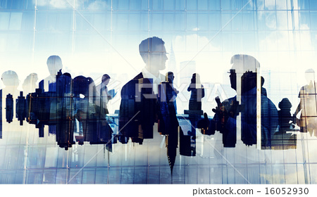 Stock Photo: Business People Silhouette Working Cityscape Teamwork Talking Di