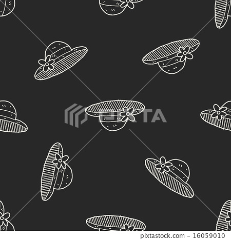 doodle Straw hat seamless pattern background 16059010