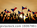 Silhouettes of People Holding the Flag of Philippines 16067861