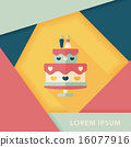 wedding cake flat icon with long shadow,eps10 16077916
