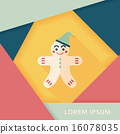 gingerbread man flat icon with long shadow,eps10 16078035