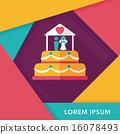 wedding cake flat icon with long shadow,eps10 16078493