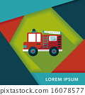 Transportation Fire truck flat icon with long shadow,eps10 16078577