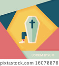 coffin falt icon with long shadow,eps10 16078878