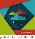 rain flat icon with long shadow,eps10 16078883