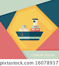 Transportation Container ship flat icon with long shadow,eps10 16078937