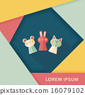 hand puppet flat icon with long shadow,eps10 16079102